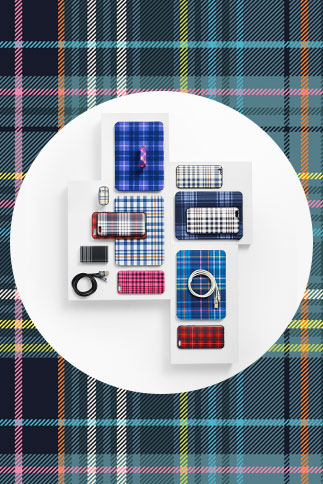 Belkin Phone Cases in Assorted Plaid Prints, Belkin iPad Mini Case and Chargers in Assorted Plaid Prints, Accessory Bands for Fitbit Flex in Assorted Plaid Prints (3-pack)