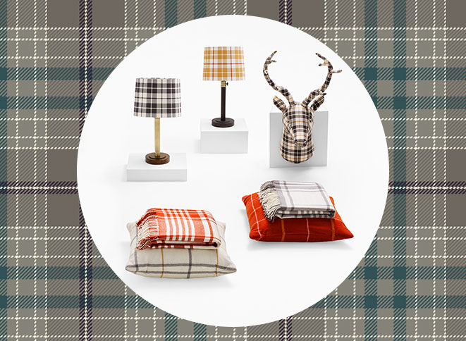 Threshold Pouf in Grey/Tan Plaid, Threshold Table Lamps in Assorted Plaid Prints, Threshold Stag Head in Black/White Plaid, Threshold Decorative Pillows in Assorted Plaid Prints, Threshold Throws in Assorted Plaid Prints