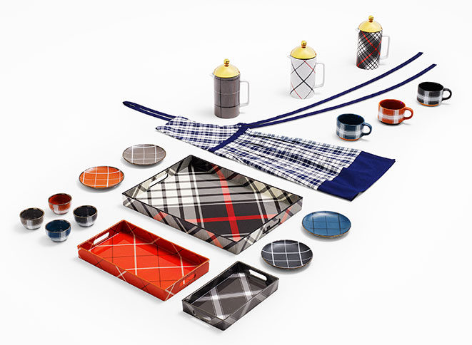 Threshold Cooking Aprons in Blue/White Plaid, Threshold Plaid Carafes, Threshold Appetizer Plates in Assorted Plaid Colors, Threshold Serving Tray in Black Plaid, Threshold Serving Tray in Orange Plaid, Threshold Serving Tray in Black/White Plaid, Threshold Plaid Coffee Mugs, Threshold Extra Small Bowls in Assorted Plaid Colors