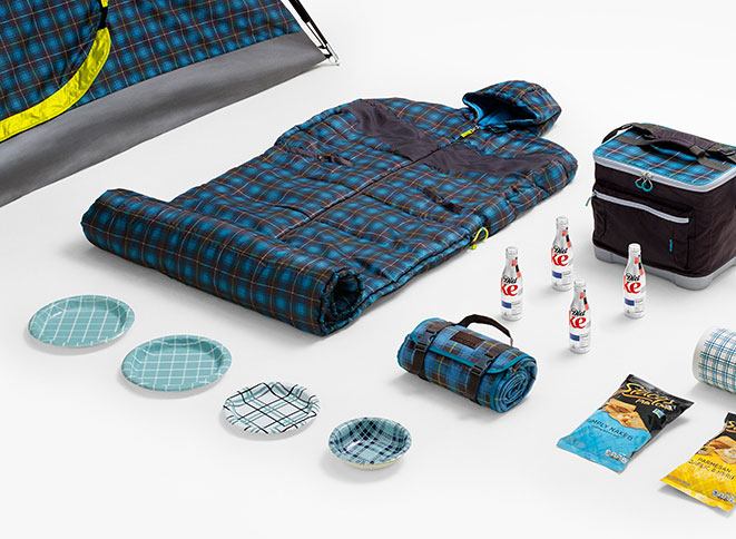 Embark 4-Person Tent in Plaid, Embark Sleeping Bag in Plaid, Embark Outdoor Blanket in Plaid, Diet Coke (12-pack), up & up Paper Plates in Assorted Plaid Prints