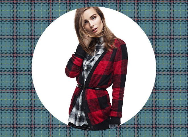 Mossimo Supply Co. Cardigan in Red/Black Plaid, Mossimo Supply Co. Shirt in Black/White Plaid, Mossimo Black Skirt in Black/Grey Stripe