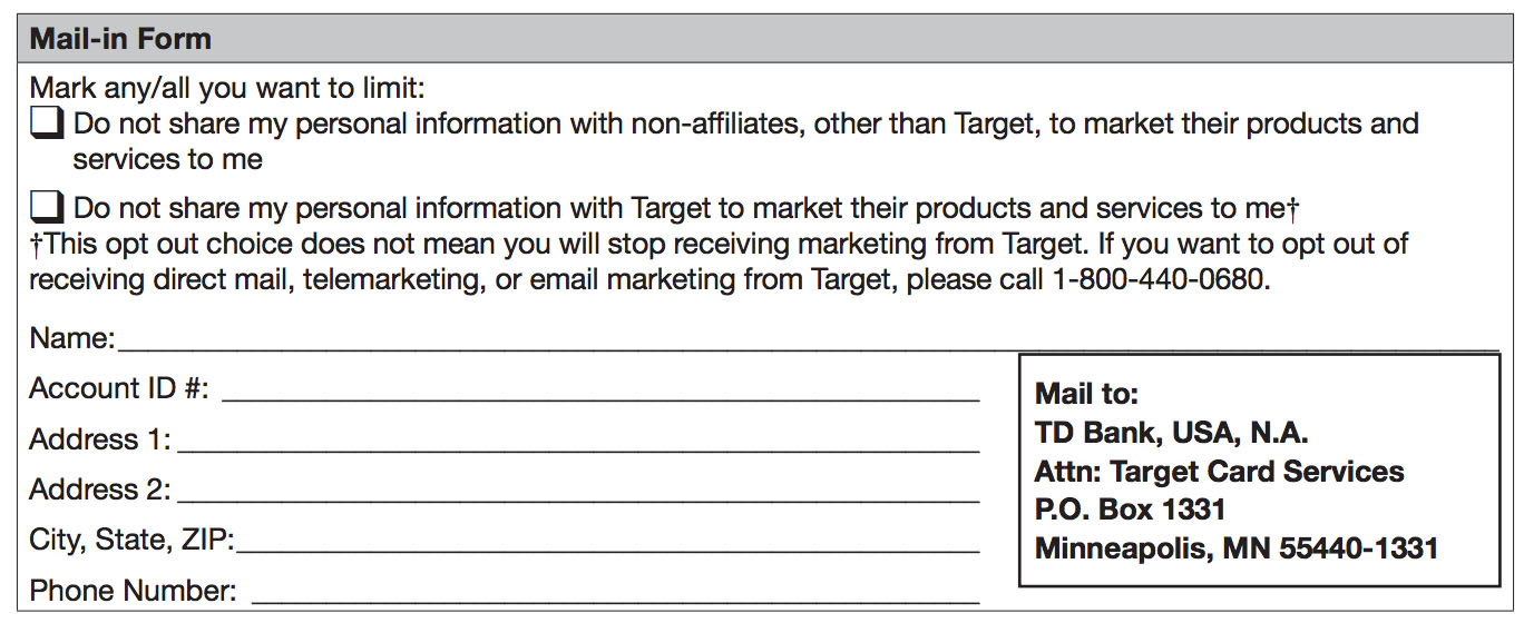 Target Application Form. Mail-In Form Td Bank Privacy Policy For