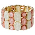 Women's Multi-Stone Stretch Bracelet - Pink/Gold quick info